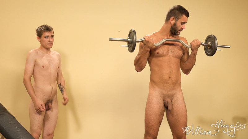 two uncut straight guys working out naked