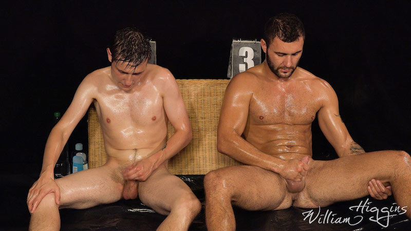 two naked straight men jacking off together