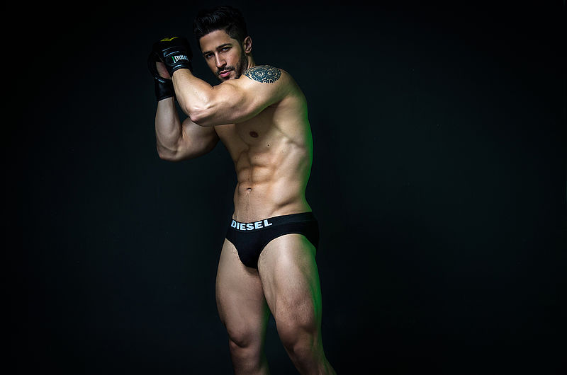 muscle man in black underwear