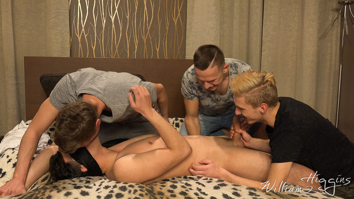 three boys sucking a friends cock in Wank Party 106