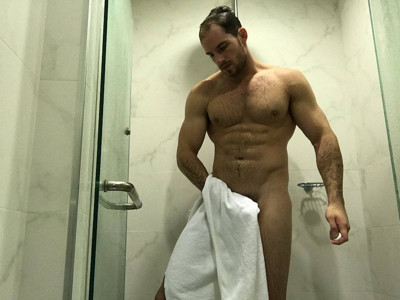 straight muscle cam hunk Brock Jacobs naked with a towel