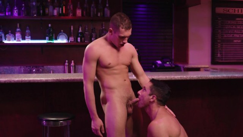 Gay man sucking a hot jock cock
