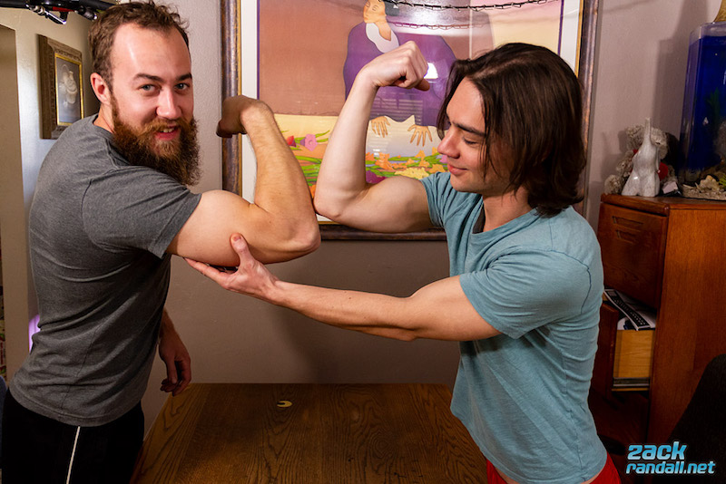 straight guys comparing muscles