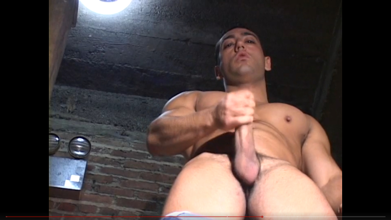 Muscle man David Chelsea sneaks into a back stairwell at work to stroke his big blue collar cock and get his cum splashing in Working Men from Dragon Media