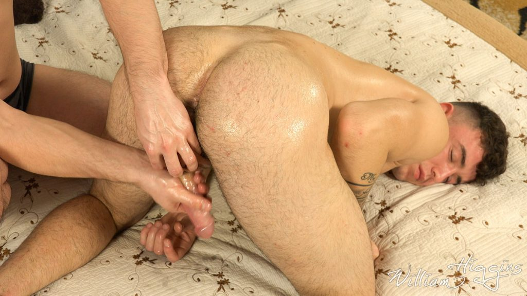 Simon Best enjoys the hand job in a happy ending massage at William Higgins