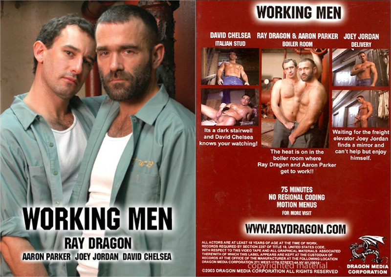 The front and back cover of Working Men, a blue collar cock porn movie from Dragon Media