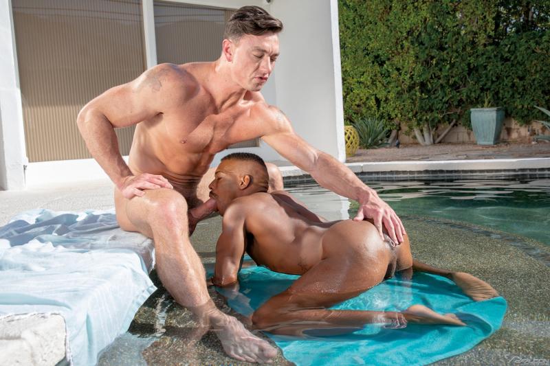 Adrian Hart sucks a big cock by the pool
