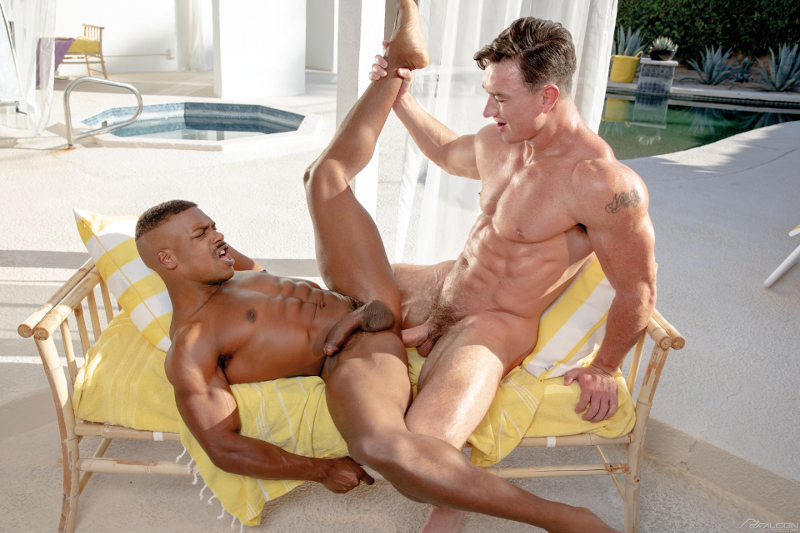 Cade Maddox pumps his thick bareback muscle cock into Adrian Hart