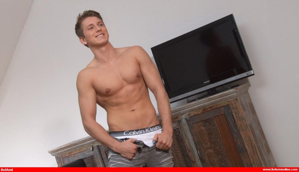 Handsome new arrival Elon Arnault poses shirtless at Bel Ami