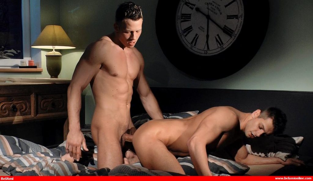Gorgeous hunks Rhys Jagger and Zac DeHaan get it on in a classic gay bareback video from Bel Ami
