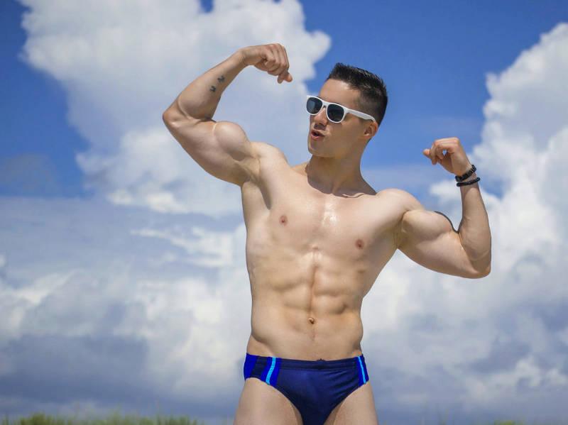 Aiden Hask looks awesome in swimwear